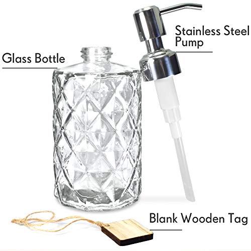 Best Price on Cosmetic Cream Jar Factory - Diamond Design 12 Oz Glass Soap Dispenser –  Hoyer detail pictures