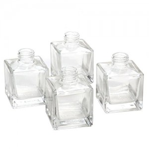 Popular 100ml Clear Square Glass Diffuser Bottle with Screw Neck