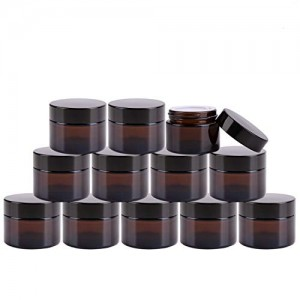 2 oz Amber Round Glass Jar with Inner Liner and black Lid