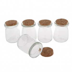 100ml Round Glass Pudding Bottle Glass Milk Bottle with Cork