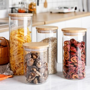 2020 wholesale price Diffuser Jars - Glass Food Storage Container with Airtight Bamboo Lid ̵...