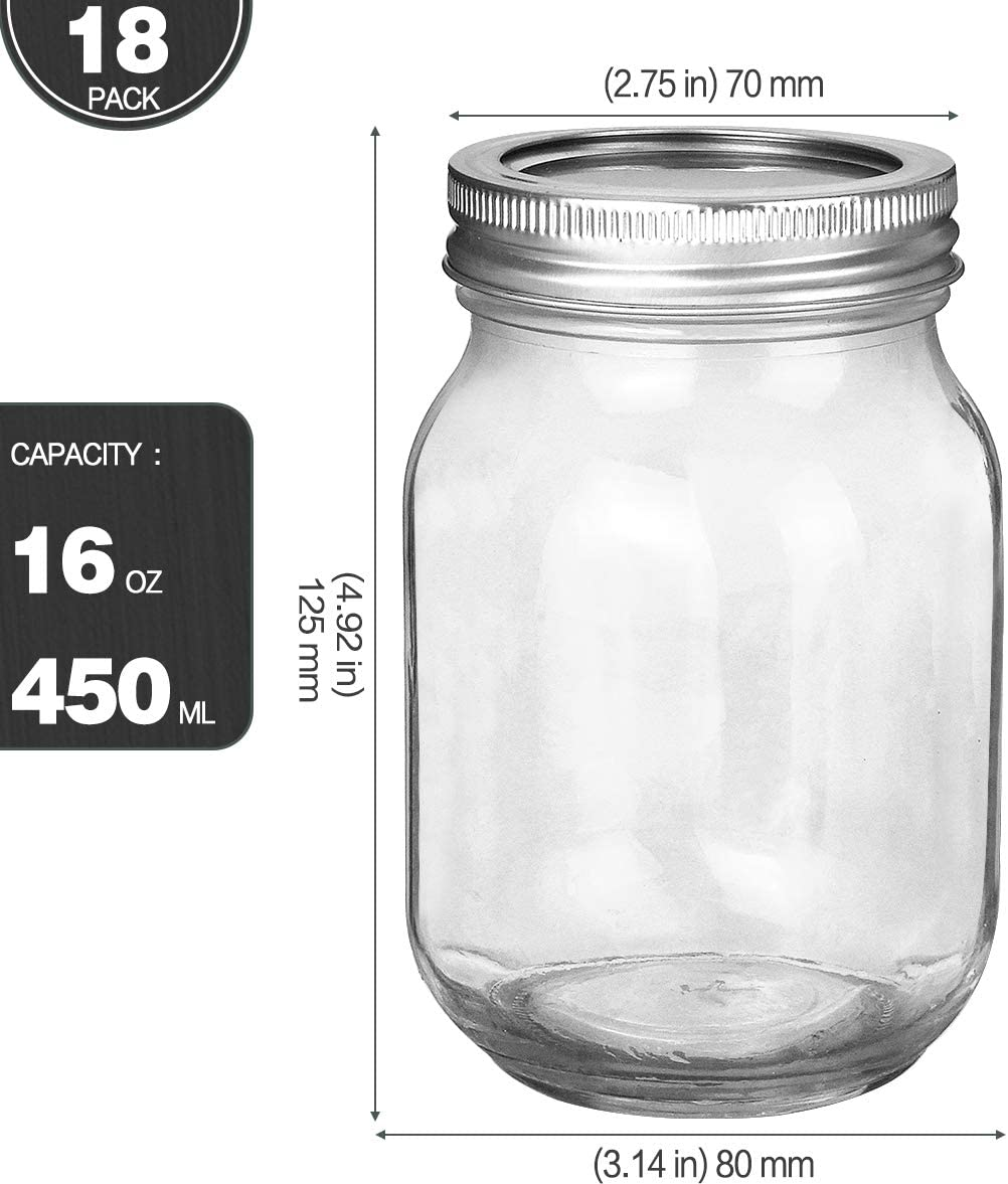 2020 China New Design Food Jar - High Quality 16oz Glass Mason Jar with Fission Silver Lid –  Hoyer detail pictures