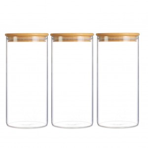 Straight Glass Storage Jar, Glass Food Jar with Bamboo Lid