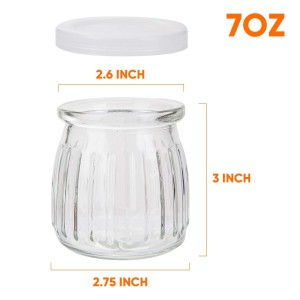 7 oz 200ml Round Glass Pudding Jar Glass Yogurt Jar with Lid
