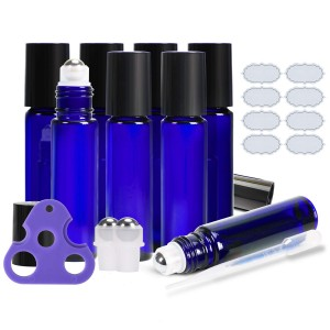 10ml Cobalt Blue Glass Roll on Bottle with Stainless Steel Roller Ball