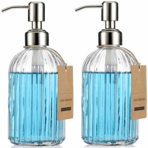 16oz Glass Soap Dispenser with  Silicone Funnel