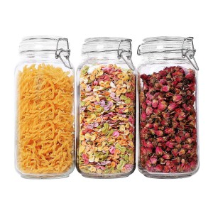 OEM/ODM China Glass Food Jar - Glass Round Storage Container with Preserving Seal Wire Clip  –  Hoyer