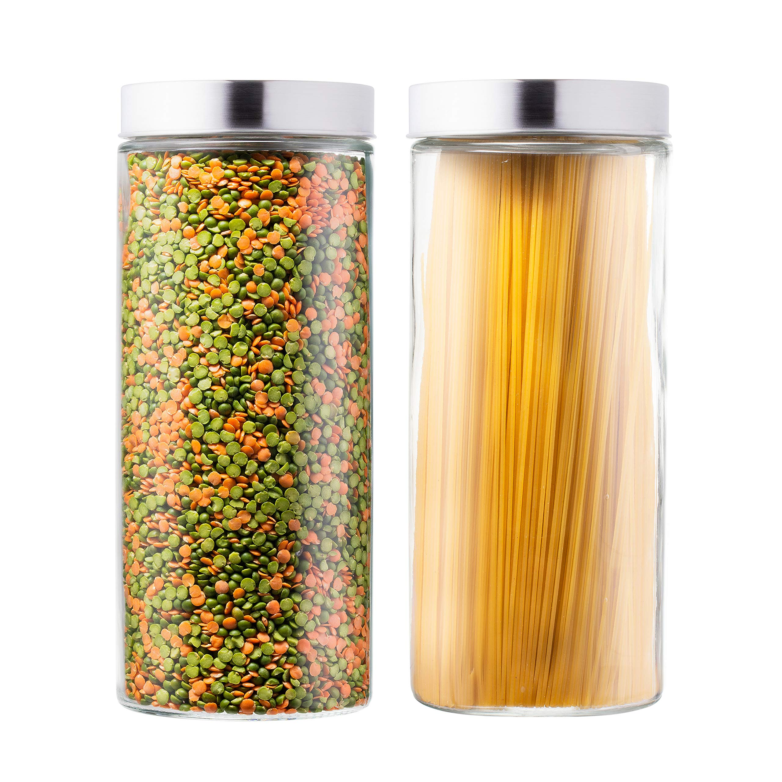 Hot New Products Glass Cream Jars - Beautiful Glass Kitchen Canister with Stainless Steel Lid –  Hoyer