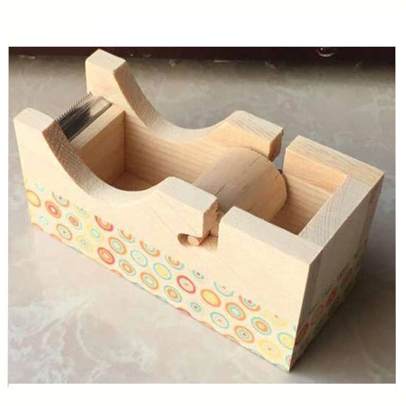 Factory handmade pine wooden tape dispenser with blade