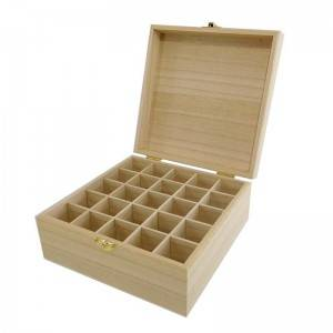 Cheap Unfinished 25 Compartment Bottle Storage wooden box essential oils