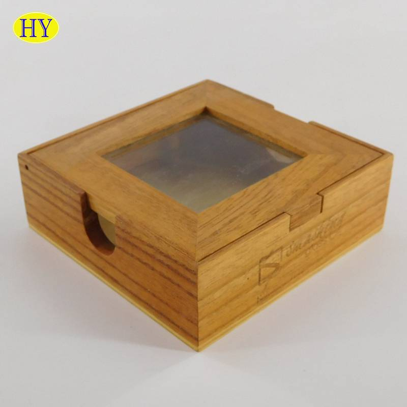 custom wooden note box with glass lid wholesale