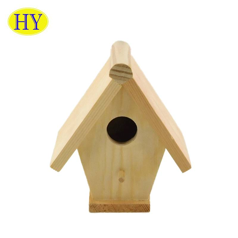 Custom Promotion Gift Natural Unfinished Diy Wooden Nest Bird House