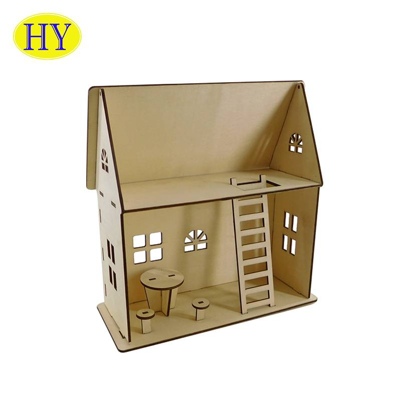 Eco-friendly Kids Wooden Toys Miniature Dollhouse Diy Mini Doll House