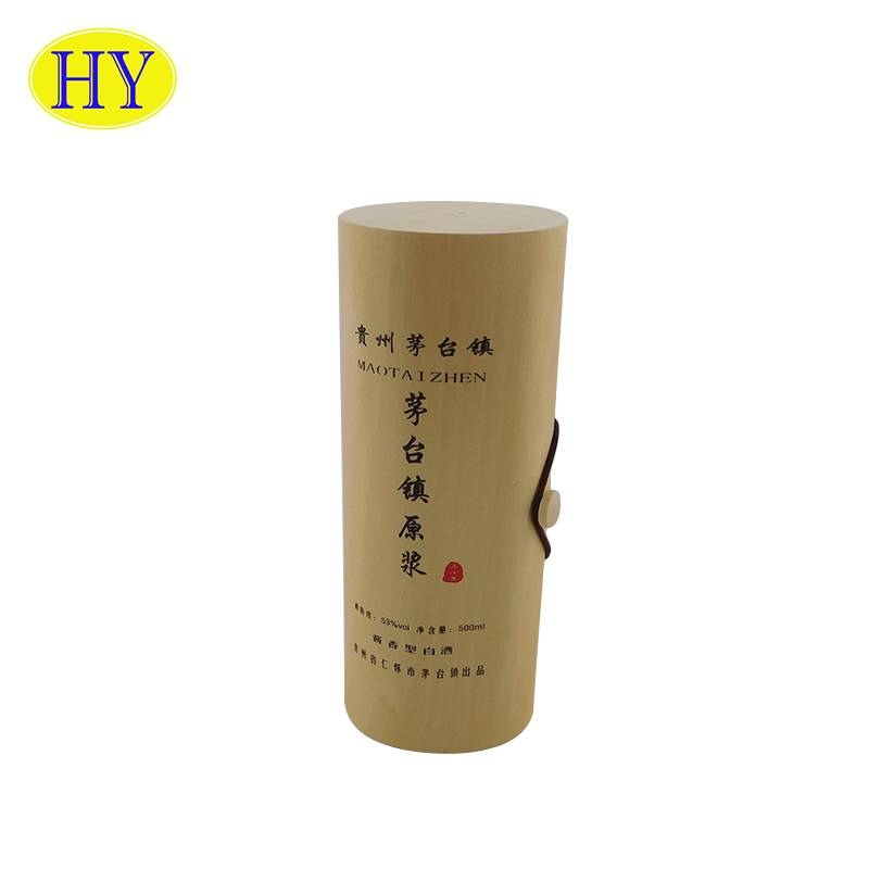 Professional China Unfinished Wood Jewelry Box - Cheap Eco-friendly Veneer Soft Bark Single Round Wooden Wine Box – Huiyang