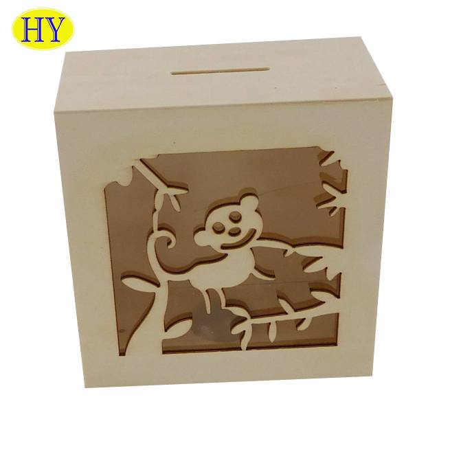 Factory Supply Wooden Box Hamper - Wooden piggy bank wooden storage Saving Box for adult and kids – Huiyang
