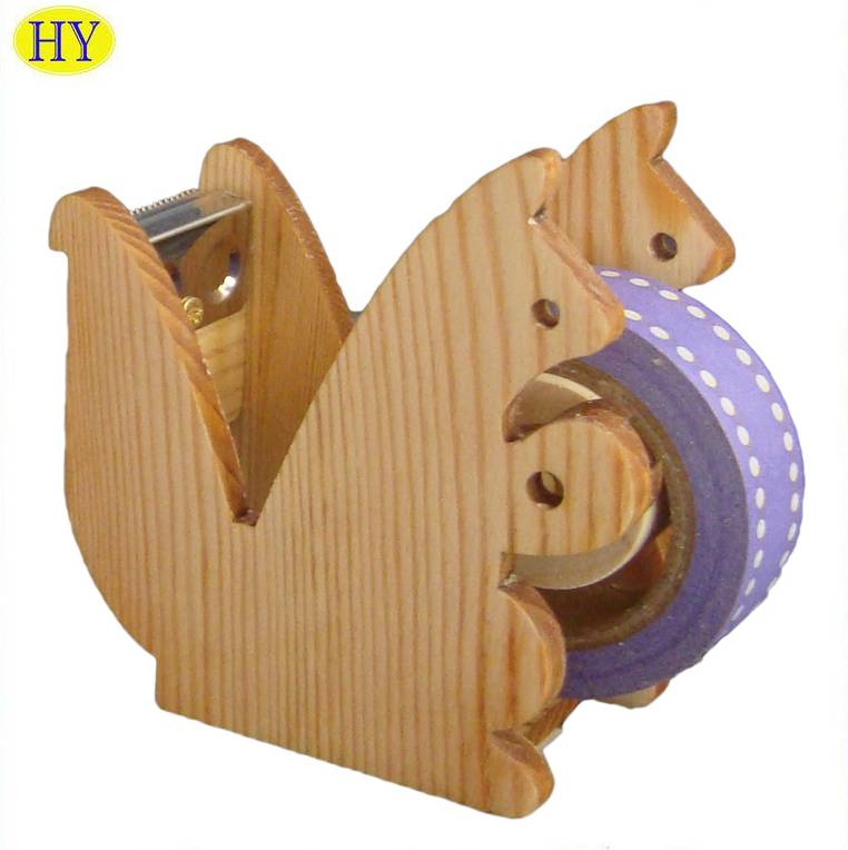 Customized Pine Wood Squirrel Shape Fancy Tape Dispenser Wholesale