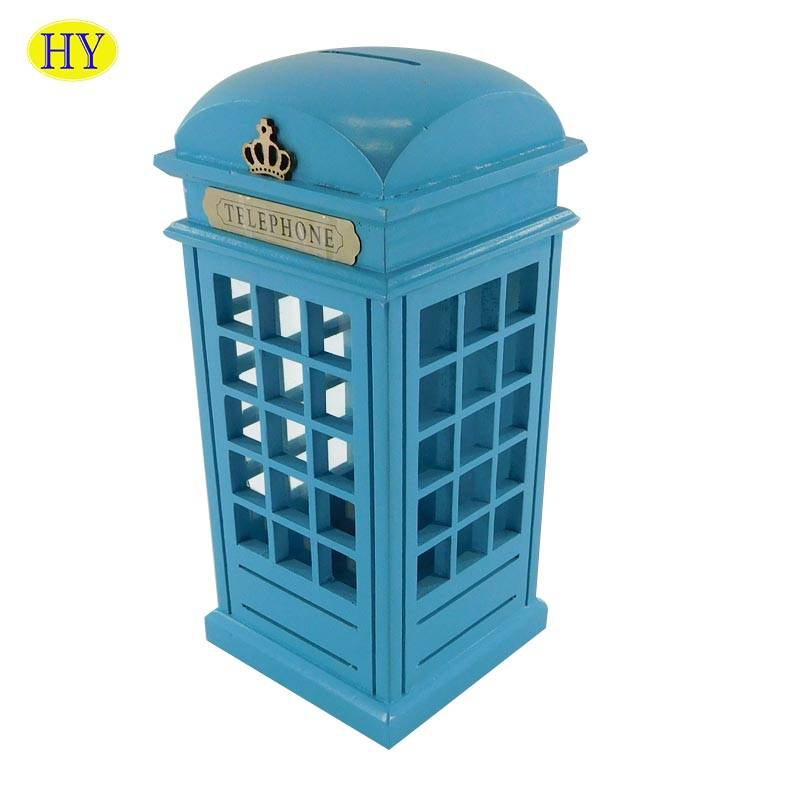 Factory making Wood Beer Carrier - Wholesale London Telephone Booth Wood  Money Bank Coin Box – Huiyang