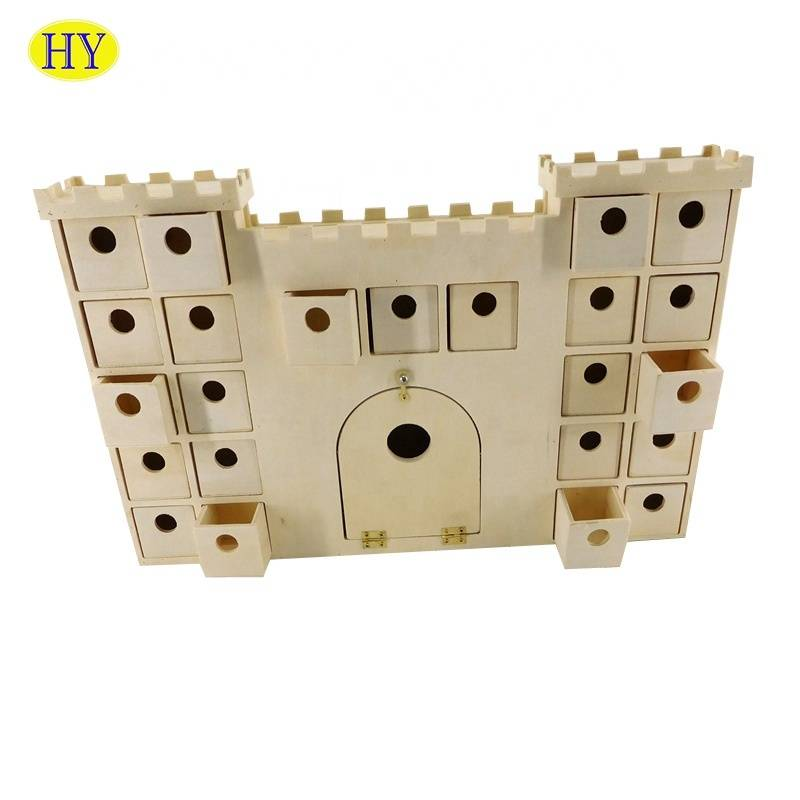 New design  wooden castle shape  desktop organizer with drawers