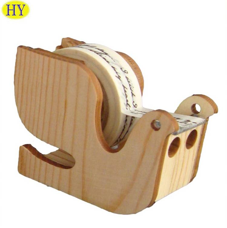 Custom Natural Unfinished Bird Shaped Wooden Tape Dispenser Wholesale