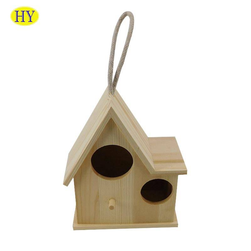 Factory Cheap Hot Heart Shaped Wooden Box - Wholesale Cheap Small  Unfinished Wood Bird House with Two Holes – Huiyang
