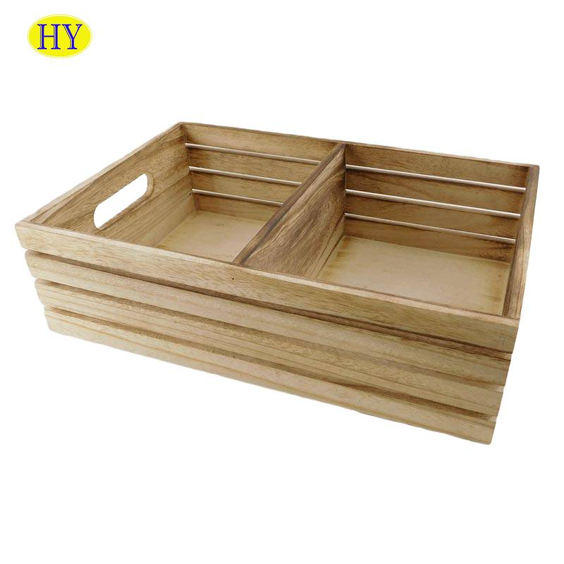 Reliable Supplier White Wooden Candle Holders - Wholesale Custom Unfinished Wooden Crate With dividers – Huiyang