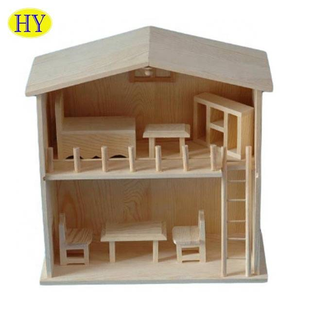 Online Exporter Wooden Storage Crates - Wholesale Custom Natural Unfinished Wooden Dollhouse – Huiyang