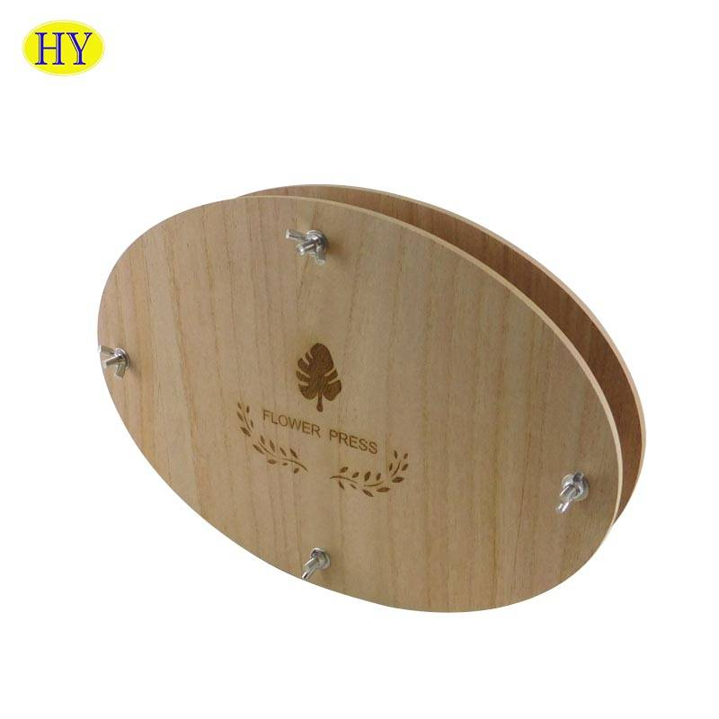 Wholesale unfinished DIY Tools Oval Shape Wood Flower Press