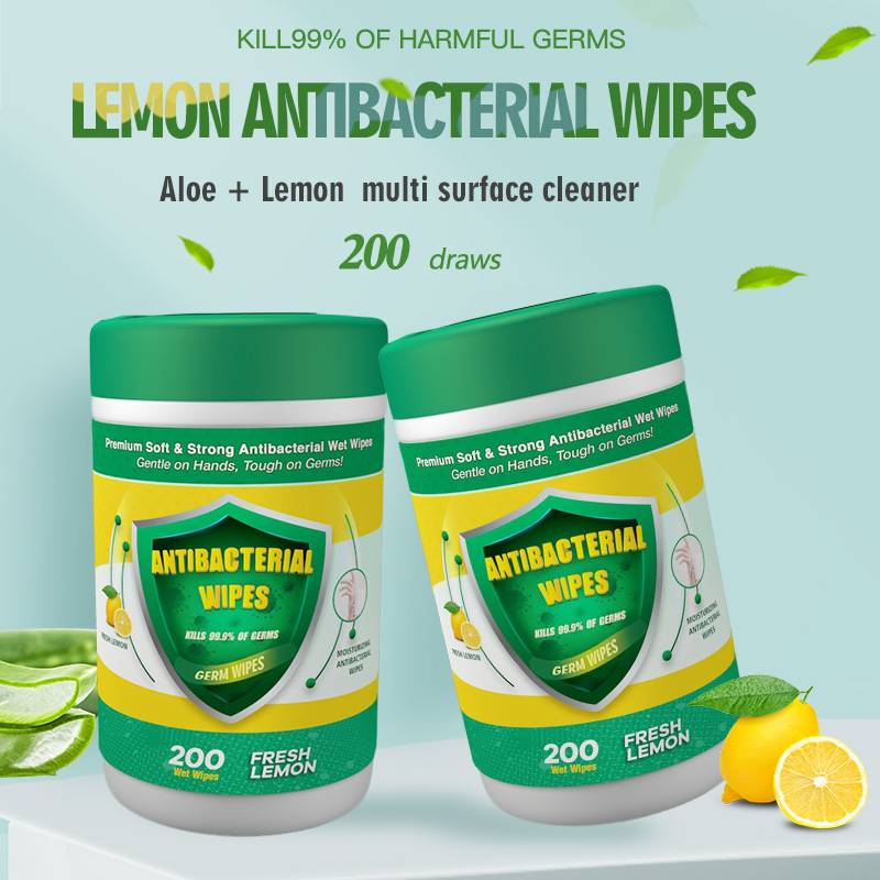 China Wholesale Cotton Wet Wipes Suppliers - Factory wholesale lemon taste disinfection personal care antibacterial wet wipes – Better detail pictures