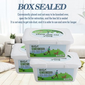 China Wholesale Antiseptic Wipe Suppliers - Factory wholesale natural safety boxed 100 counts pet cleaning wipes bacterial wipes for dogs and cats – Better