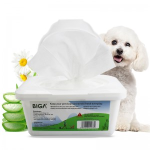 Factory wholesale natural safety boxed 100 counts pet cleaning wipes bacterial wipes for dogs and cats