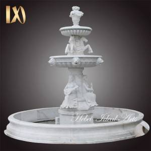 outdoor modern garden backyard cascading marble horse water fountain decoration stone lady statue round fountains for sale