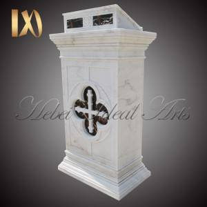 Factory Price For Marble Flower Vase - Wholesales White Natural Marble Church Decor Pulpit stand for Sale –  Ideal Arts