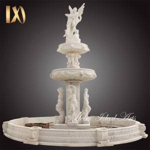 hand carved luxury huge outdoor garden decoration circle stone marble water fountain with beautiful statues for sale