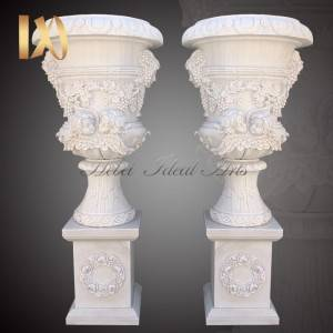 High Performance Marble Stone Pillar - Delicate Garden Decoration Marble Flower Pots with Human for Sale –  Ideal Arts