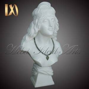 hand carved pretty white marble bust for Sale