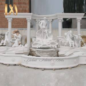 China Wholesale Marble Altar Table Pricelist –  Large Outdoor Luxury Water Fountain with Roman Horse and Figure Statues for Sale –  Ideal Arts