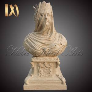 hand carved marble Bust of veiled woman for Sale