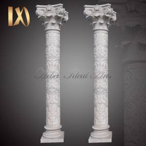 High reputation Square Marble Columns - Natural Large White Solid white Marble Column from Factory –  Ideal Arts