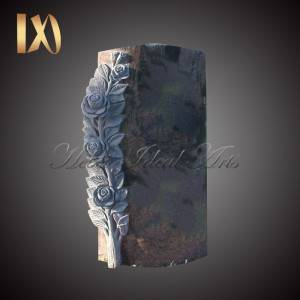 OEM Manufacturer Marble Kneeling Angel Wing Tombstone - Hand Carved Deep-Carved Rose Headstone &monument for sale –  Ideal Arts