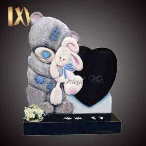 Hand Carved Teddy, Rabbit and Heart Memorial Headstone &monument for sale