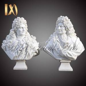 Carved Famous White Marble Louis XIV Bust