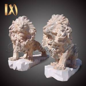 Factory outlet sunset pink marble lion statue for sale