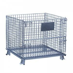 Warehouse Folding Steel Wire Mesh Metal Cage St...