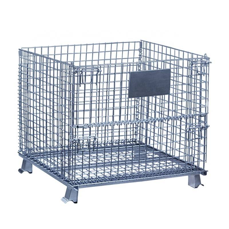 Warehouse Folding Steel Wire Mesh Metal Cage Storage Container