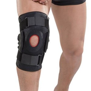 Neoprene adjustable metal strip knee support with silicone pad