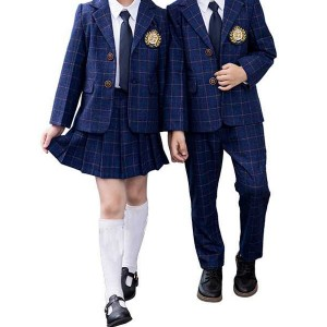 Checked school uniform skirt fabric for girls c...