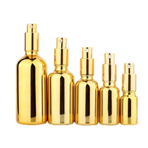 Reasonable price for Essential Oil Sample Bottles - 15ml/30ml/50ml golden spray lotion bottle cosmetics packaging – Kingtone