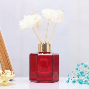 High quality 50ml 100ml 120ml glass custom color design decorated with transparent empty reed diffuser glass bottle with thread