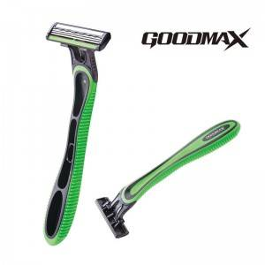 High quality triple blade razor with rubber handle, Goodmax SL-8006TL