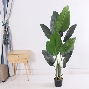 Office Decorative Artificial Travelers Banana Tree Plastic Birds of Paradise Plants With Pot
